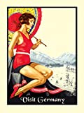 "CANVAS Germany Girl Swim Europe Travel Tourism Vintage Poster Repro 16"" X 22"" Image Size ON CANVAS. We Have Other Sizes Available !"