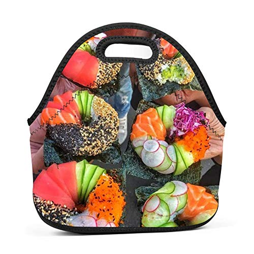 KAKAKAA Colorful Food Lunch Bag Tote Lunch Box Food Container Lnsulated Neoprene Gourmet Tote Cooler Insulation Bag School Office