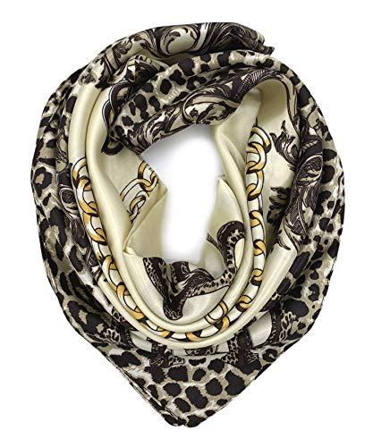 YOUR SMILE Leopard Chain Beige Silk Like Scarf Women's Fashion Pattern Large Square Satin Headscarf