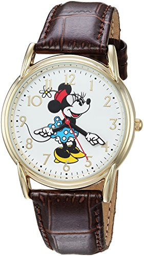 DISNEY Women's Minnie Mouse Analog-Quartz Watch with Leather-Synthetic Strap, Brown, 18 (Model: WDS000411)