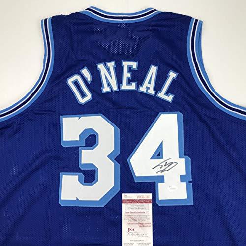 (Autographed/Signed Shaquille Shaq O'Neal Los Angeles LA Retro Blue Basketball Jersey JSA COA)