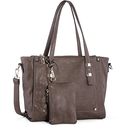 WISHESGEM Women Fashion Handbags Top-Handle Shoulder Bags PU Leather Tote Bags Crossbody Purse Dark (Fashion Pu Shoulder Bag)