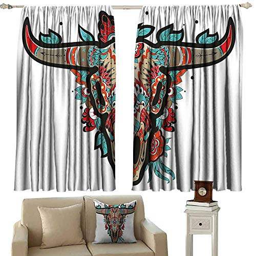 He Man Gray Skull - Novel Curtains Western Buffalo Sugar Mexican Skull Colorful Ornate Design Horned Animal Trophy Thermal Insulated Tie Up Curtain W55 xL39 Turquoise Red Taupe