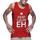 Mens Keep Calm Eh - Canada, Canadian Tank Top T-shirt (XL, RED)
