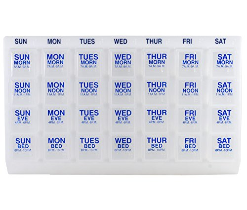 [GMS® Four-a-day, Weekly, One Day At a Time, Medication Organizer - Large Slant Tray (Clear Pill Boxes in White Tray)] (Medication Tray Organizers)