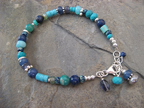 Gemstone Sterling Silver Bracelet Turquoise Kyanite Lapis Sodalite Artisan Jewelry (Lapis Turquoise Bracelet)