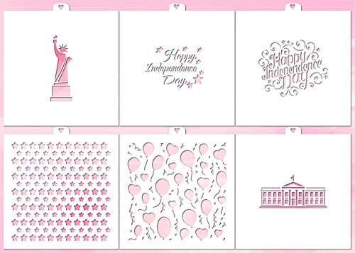 Cookie and Craft Stencil set Patriot N2, 6 pcs: White House, Statue of Liberty, monogram, stars, Independence Day