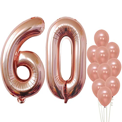 KatchOn Rose Gold Numbers Balloon 60 - Large, Fabulous 60th Birthday Balloons Decorations Supplies | Number 6 and 0 Balloons | foil Mylar and Latex Balloons | Sixty Year Old