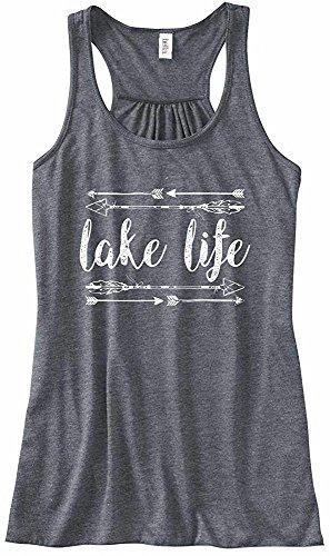 Beach Bum Tees Ladies Tribal Arrows ' Lake Life ' Flowy Racerback Tank Top (Medium, Heather Black Arrows) (Lake Girl)