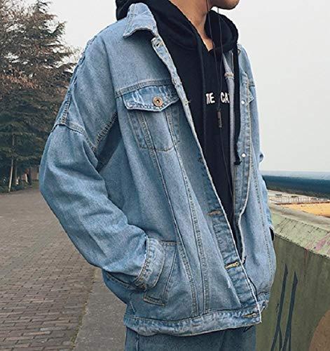 Collar Jean Down Howme Blue Denim Washed Turn Men Short Casual Jacket Coat wtSgUqxEgA