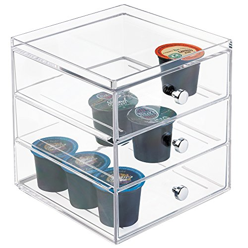 mDesign Single Serve Coffee Pod Holder for Kitchen Pantry, Countertops - Holds 27 Capsules, Clear