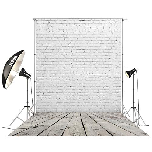 HUAYI 5'x10' Vinyl Backdrop for Photo Studio Pictures Home Decoration DIY Food Background Brick and Wood Floor D-2504 -