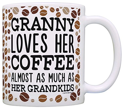 Mothers Day Gifts for Grandma Granny Loves Coffee and Grandk