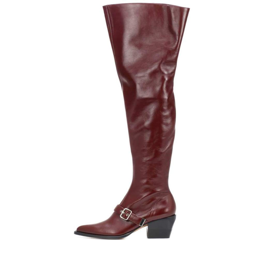 Red Themost Leather Combat Boots,Women's Over The Knee High Boot Chunky Heel Booties Thigh high Boots