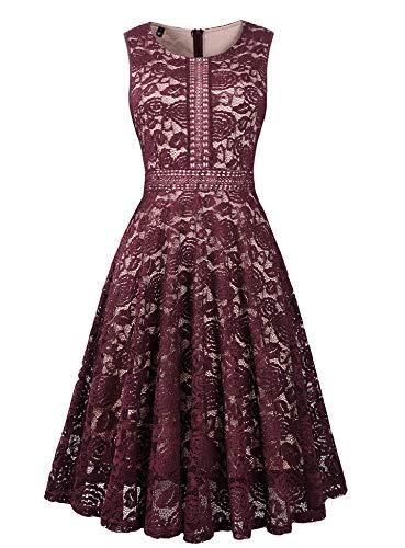 Twinklady Women's Vintage Full Lace Sleeveless Big Swing A-Line Dress (Wine Red, M)