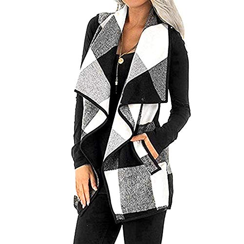 (Womens Sleeveless Open Front Hem Plaid Vest Cardigan Jacket with Pockets Lightweight Sherpa Lapel Cardigan (White, XL))