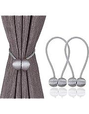 Magnetic Curtain Tiebacks Clips - Window Tie Backs Holders for Home Office Decorative Rope Holdbacks Classic Tiebacks Design, Grey 1 Pair