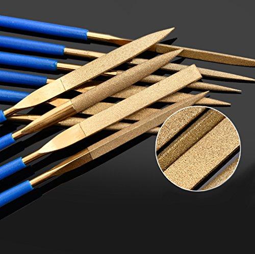 10 PCS Titanium Coated Diamond Needle File Set for Guitar Frets Soft Metal Wood and Plastic (180MM, Gloden)