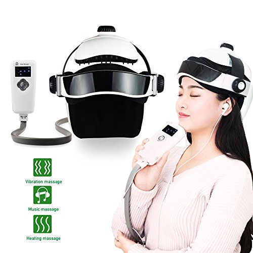 REAQER Electric Head Neck Massager Multifunctional Shatisu Massage Helmet With Soothing Music and Air Pressure to Relax and Relieve The Headache Brain Physiotherapy Massage Cap