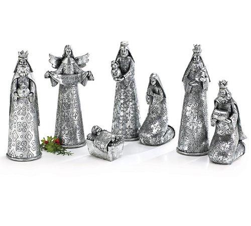Burton & Burton Silver Hammered Look Nativity Figurine Collection