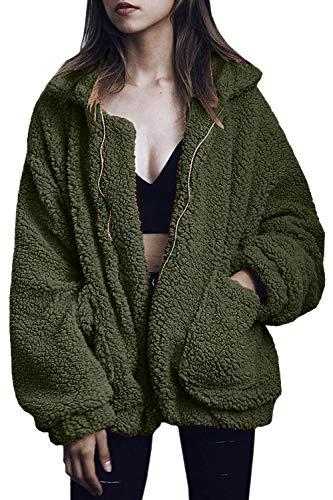 COCOLEGGINGS Women's Lapel Fleece Fuzzy Faux Shearling Zipper Coats Army Green -