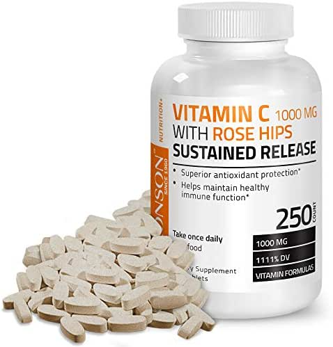Bronson Vitamin C 1000 mg with Rose Hips Sustained Release, 250 Tablets