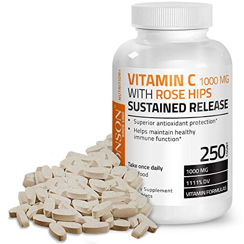 Bronson Vitamin C 1000 mg with Rose Hips Sustained Release, 250 ()