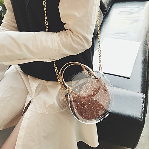 Shoulder Inner Transparent Crossbody Purse Inner Stadium Approved Bag Bag Waterproof Sequins Clear Coffee Messenger NFL Handbag Clear Bag With with Tote Round YwzP5n