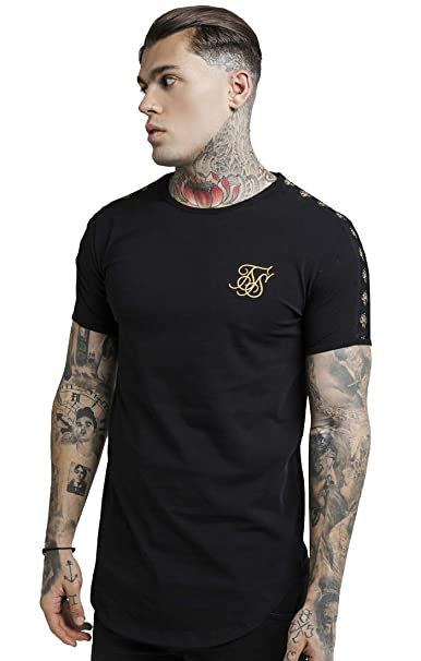 486a4f7c3 Sik Silk SS-13561 Lurex Gold Tape T-Shirt - Black  Amazon.es  Ropa y ...