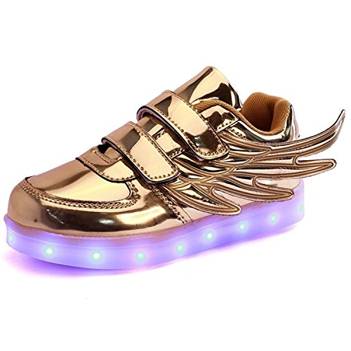 Yilaiyiqu_1 Popular Sports Shoes With 7 Colors Colorful LED On On For Girl Boy angel wings Gold9 M US Toddler Comfortable]()