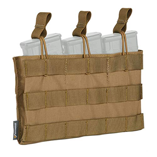 IDOGEAR Open-Top Triple Mag Pouch 5.56mm MOLLE Mag Pouch for M4 M14 M16 Magazine (Coyote ()