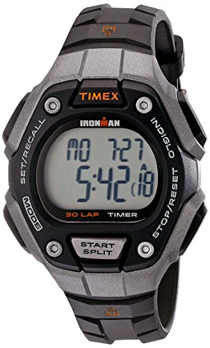 Timex Women's Ironman 30-Lap Digital Quartz Mid-Size Watch, Black/Silver-Tone/Orange - TW5K89200