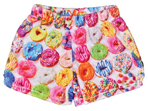 iscream Big Girls Silky Soft Print Plush Shorts - Dozens of Donuts, Small by iscream