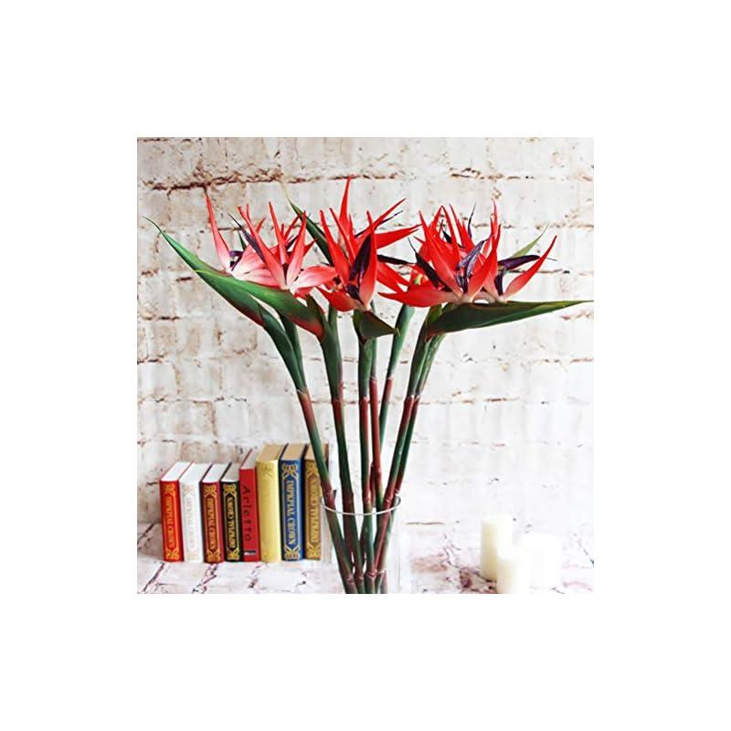 silk flower arrangements warmter 32.5 inch large elegant bird of paradise artificial flower for home office 3 pcs (red)
