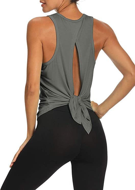 Bestisun Workout Tops Open Back Shirts Gym Workout Clothes Tie Back Musle Tank for Women