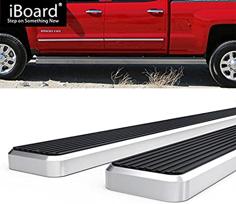 Off Roader Eboard Running Board 4 Black Fits 2007-2018 Chevy Silverado//GMC Sierra Crew Cab Nerf Bar | Side Steps | Side Bars