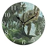 Dozili 3D Dinosaur Round Wall Clock Arabic Numerals Design Non Ticking Wall Clock Large for Bedrooms,Living Room,Bathroom