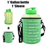 QuiFit 1 Gallon/128oz Water Bottle Reusable Leak-Proof Drinking Water Jug for Outdoor Camping Hiking BPA Free Plastic Sports Water Bottle with Daily Time Marked (128oz/green+Bag)