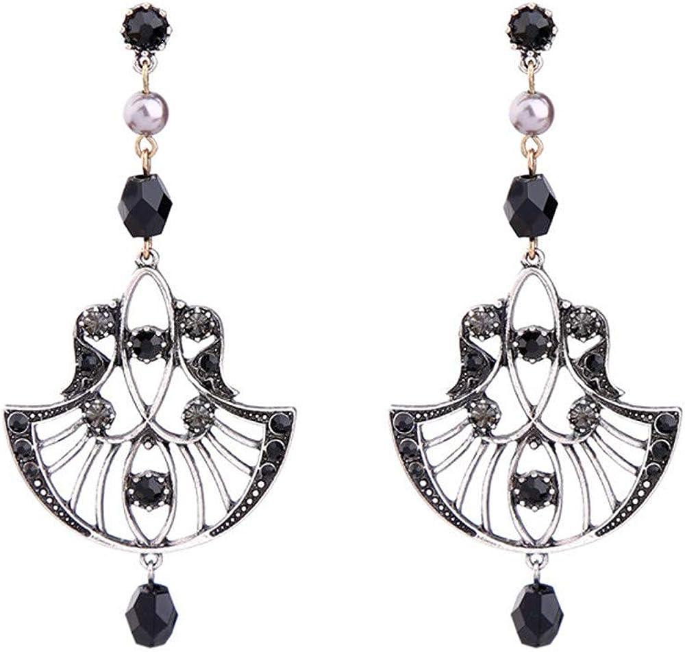 Pendientes de moda exquisitos pendientes de diamantes en forma de abanico hueco Pendientes de piedras preciosas de época