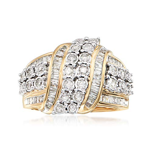 Ross-Simons 1.00 ct. t.w. Round and Baguette Diamond Ribbon Ring in 18kt Gold Over Sterling Silver