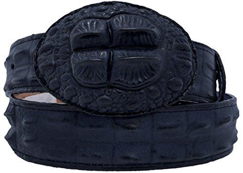 Cowboy Professional - Men's Denim Blue Crocodile Hornback Print Leather Belt Rounded ()