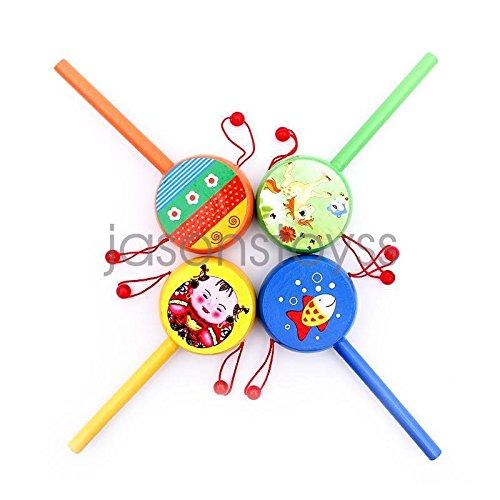 UNAKIM-Wooden Toys Cartoon Children Toys Drum-shaped Rattle Horn Music Toy Random - Sunglasses Wooden Oregon