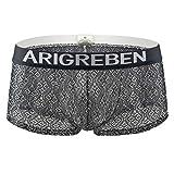 Mens Underwear Sexy Breathable Lace Raise Shorts Raised Arigreben Four-Corner Briefs (Black,M)