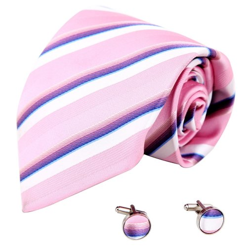 A1186 Light Pink White Stripes Web Presents Idea Discount For Mens Silk Tie Cufflinks Set 2PT By Y&G