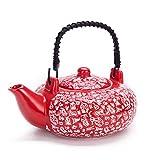 Contemporary Art Decor Porcelain 5 PCS Tea Set Teapot Teacup Kanji Calligraphy Red