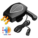 Car Heater, Portable Electronic Auto Heater Fan Fast Heating Defrost 12V 150W Car Defrost Defogger, Plug Adjustable Thermostat in Cigarette Lighter, 2 in 1 Heating/Cooling Function 3-Outlet Car Heater