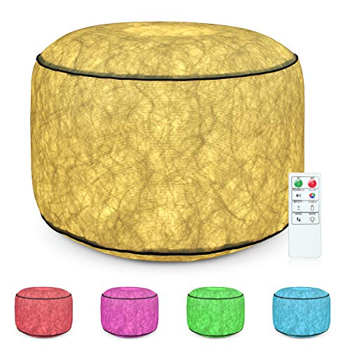 ANGTUO Inflatable Chair with Color Change LED Lighting Controlled by Remote , Anti Leaking Waterproof Footstools for Kids Bedroom Home Office Bar Festivals Party, Creative Christmas Gift.