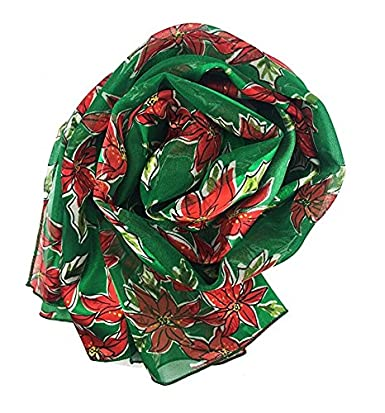 Christmas Scarf Christmas Candy cane Poinsettia Design w//Gift Box By Knitting Factory