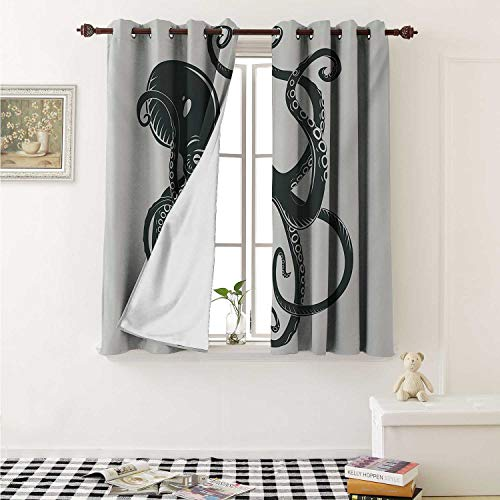 shenglv Octopus Blackout Draperies for Bedroom Black Danger Cartoon Octopus Characters with Curling Tentacles Swimming Underwater Art Curtains Kitchen Valance W72 x L63 Inch Black