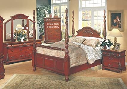 5PC Queen Anne Style Hardwood Cal King Poster